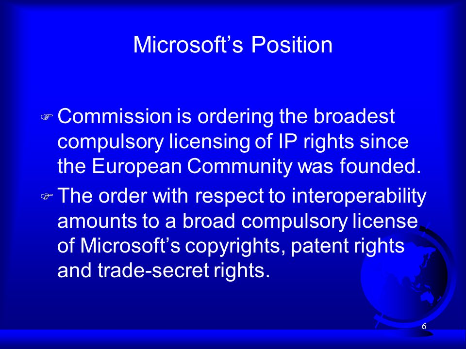 7 Microsofts Position F The code removal remedy amounts to: –a compulsory license of the Windows trademark and –a broad compulsory license of Microsofts copyrights u Microsofts copyrights provide it with the exclusive right to create adaptations.