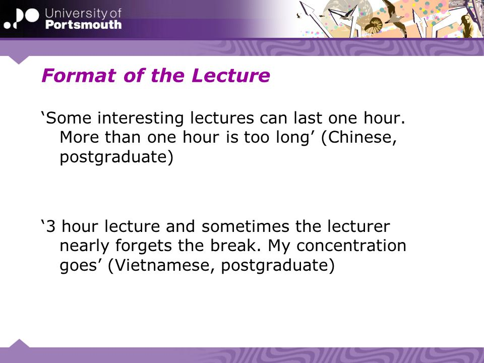 Format of the Lecture Some interesting lectures can last one hour. More than one hour is too long (Chinese, postgraduate) 3 hour lecture and sometimes
