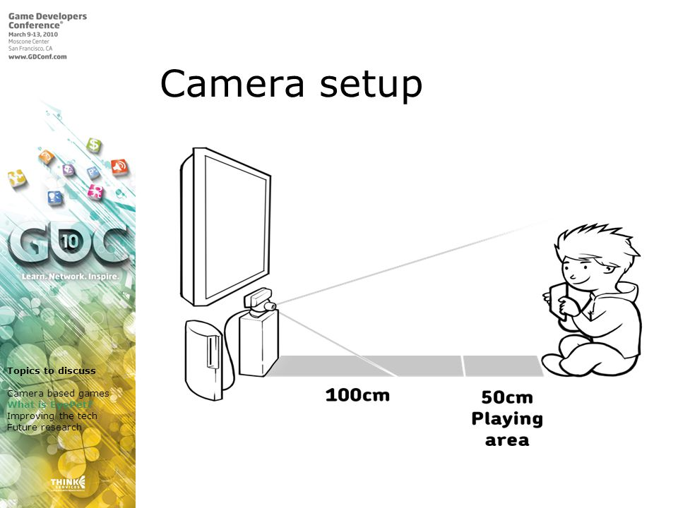 Camera setup Topics to discuss Camera based games What is EyePet.