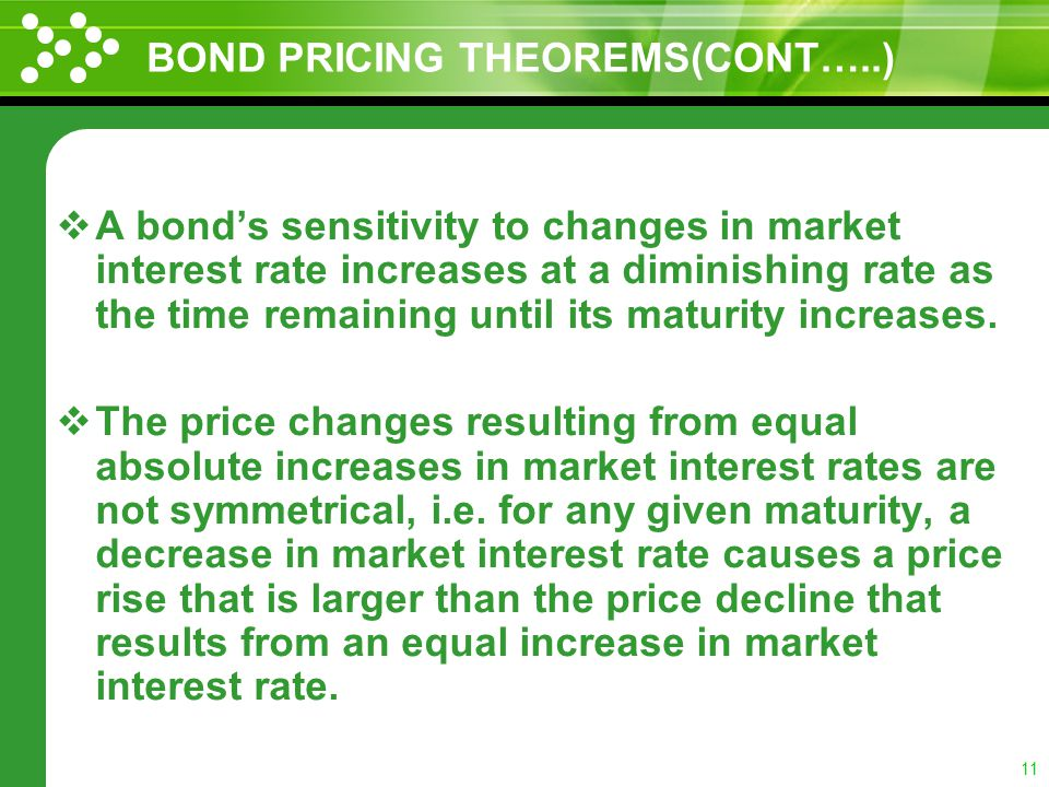 10 BOND PRICING THEOREMS The relation between bond prices and changes in the market interest rates have been stated by Burton G. Malkiel in the form o
