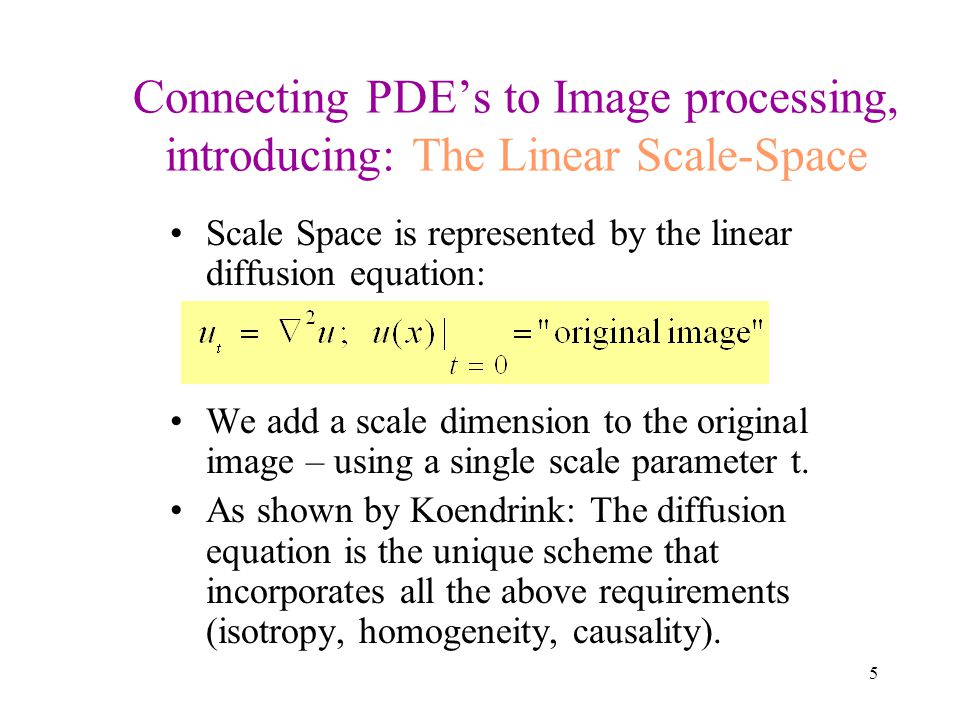 6 Linear Scale-Space Applying the diffusion equation to the original image – creating a 3rd dimension t Adopted from [Romeny 96] t