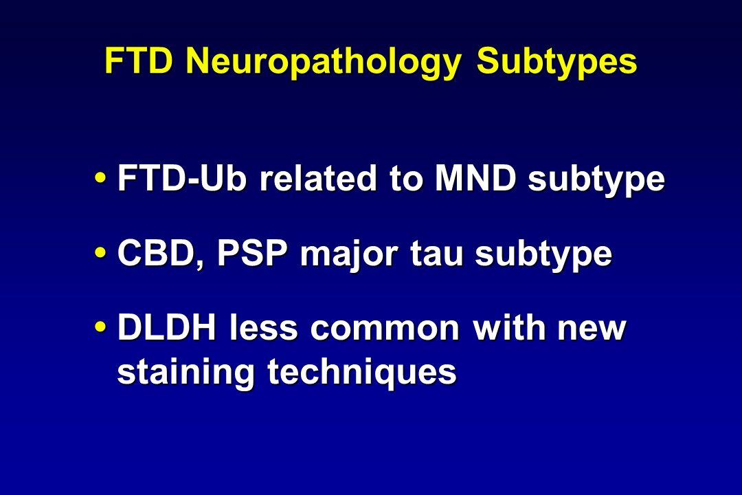 FTD Neuropathology Subtypes FTD-Ub related to MND subtype FTD-Ub related to MND subtype CBD, PSP major tau subtype CBD, PSP major tau subtype DLDH les