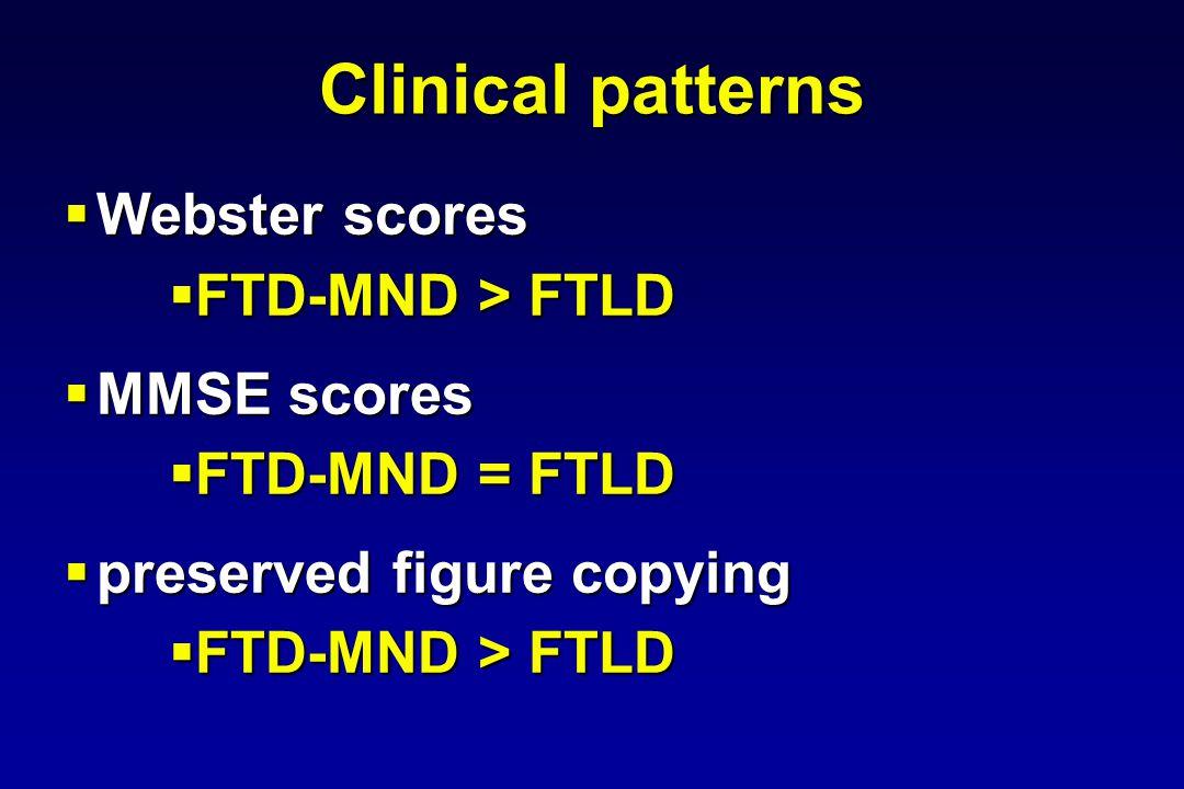 Clinical patterns Webster scores Webster scores FTD-MND > FTLD FTD-MND > FTLD MMSE scores MMSE scores FTD-MND = FTLD FTD-MND = FTLD preserved figure copying preserved figure copying FTD-MND > FTLD FTD-MND > FTLD