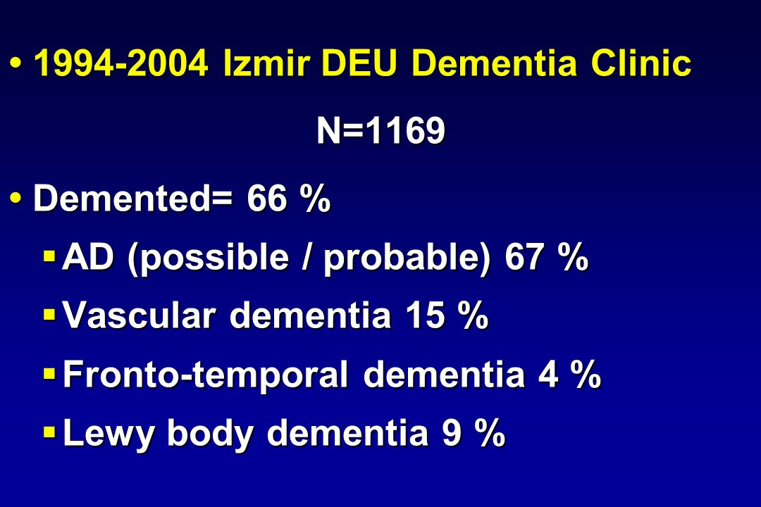 1994-2004 Izmir DEU Dementia Clinic 1994-2004 Izmir DEU Dementia ClinicN=1169 Demented= 66 % Demented= 66 % AD (possible / probable) 67 % AD (possible / probable) 67 % Vascular dementia 15 % Vascular dementia 15 % Fronto-temporal dementia 4 % Fronto-temporal dementia 4 % Lewy body dementia 9 % Lewy body dementia 9 %