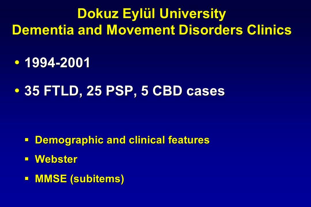 Dokuz Eylül University Dementia and Movement Disorders Clinics 1994-2001 1994-2001 35 FTLD, 25 PSP, 5 CBD cases 35 FTLD, 25 PSP, 5 CBD cases Demograph