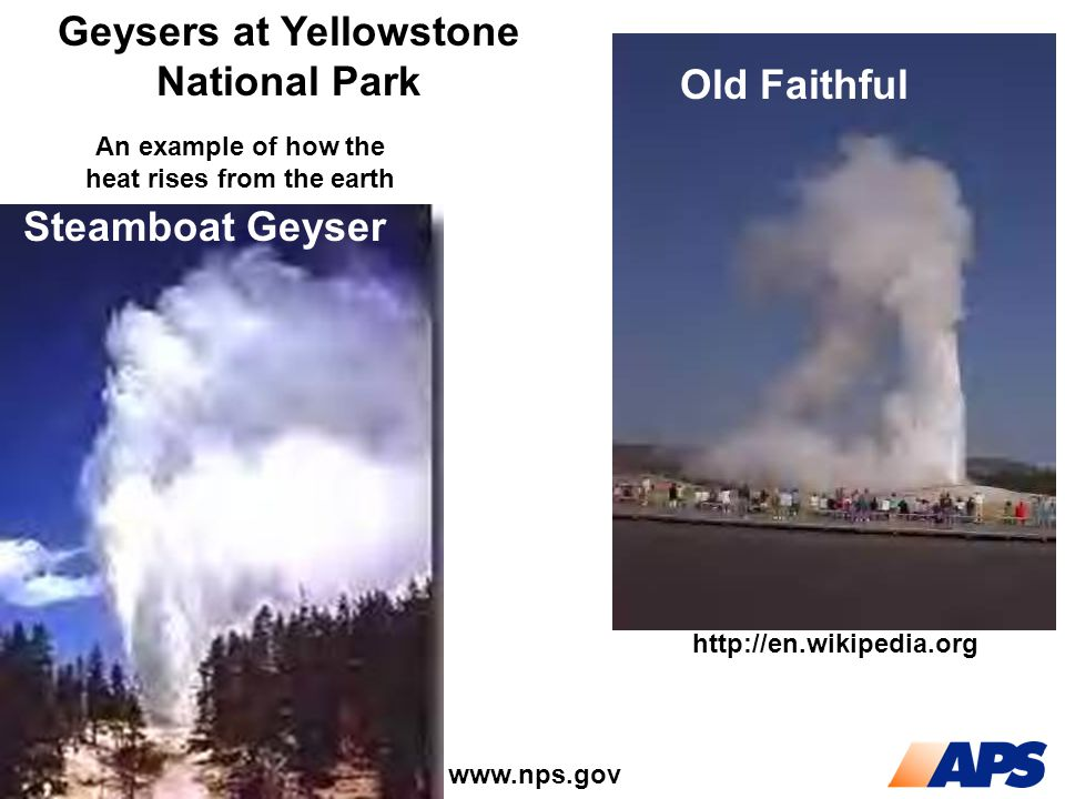 Steamboat Geyser Old Faithful Geysers at Yellowstone National Park http://en.wikipedia.org www.nps.gov An example of how the heat rises from the earth