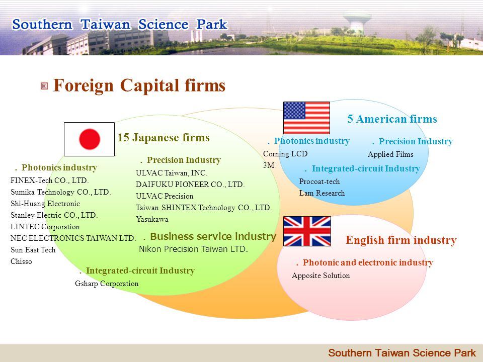 4 Foreign Capital firms 15 Japanese firms Precision Industry ULVAC Taiwan, INC.