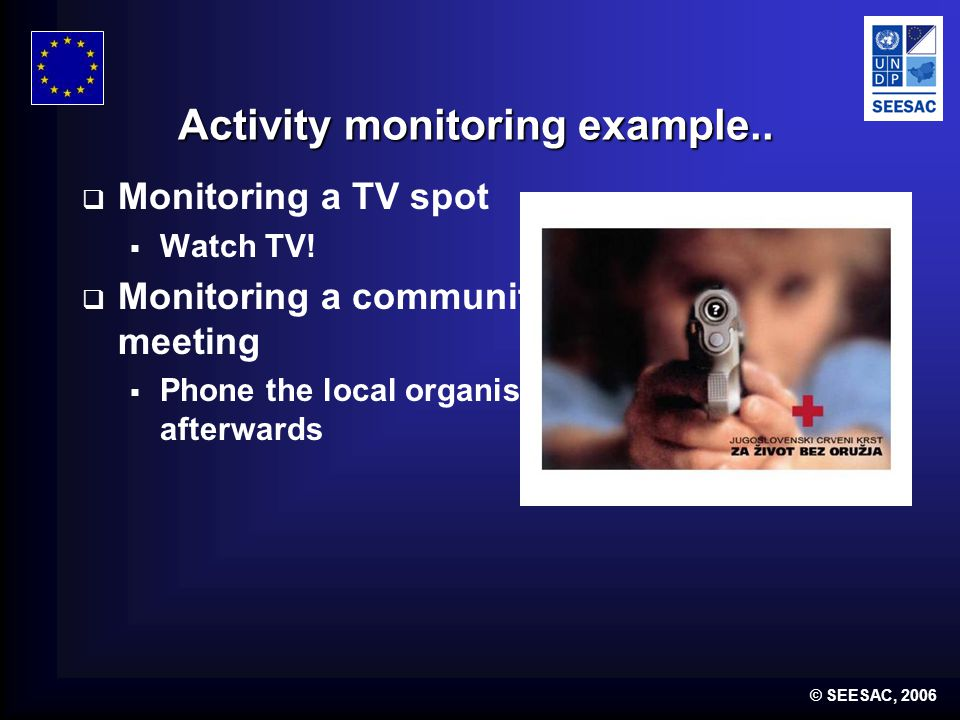 © SEESAC, 2006 Activity monitoring example.. Monitoring a TV spot Watch TV.