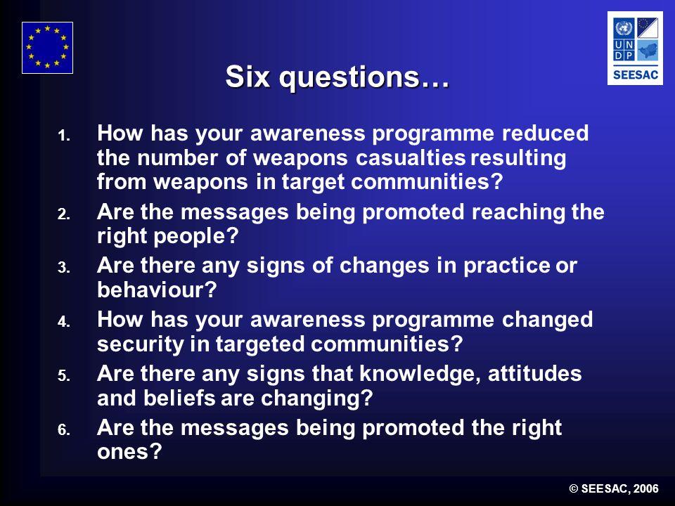© SEESAC, 2006 Six questions… 1.