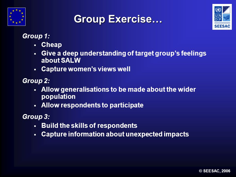 © SEESAC, 2006 Group Exercise… Group 1: Cheap Give a deep understanding of target groups feelings about SALW Capture womens views well Group 2: Allow generalisations to be made about the wider population Allow respondents to participate Group 3: Build the skills of respondents Capture information about unexpected impacts