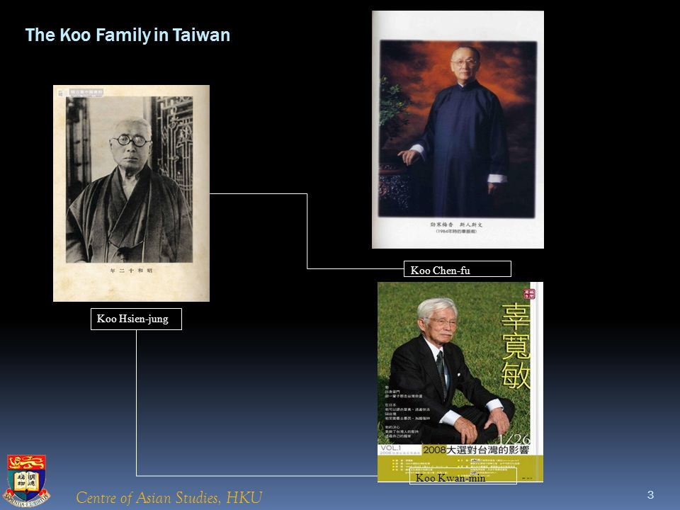 Centre of Asian Studies, HKU Koo Hsien-jung Koo Chen-fu Koo Kwan-min The Koo Family in Taiwan 3