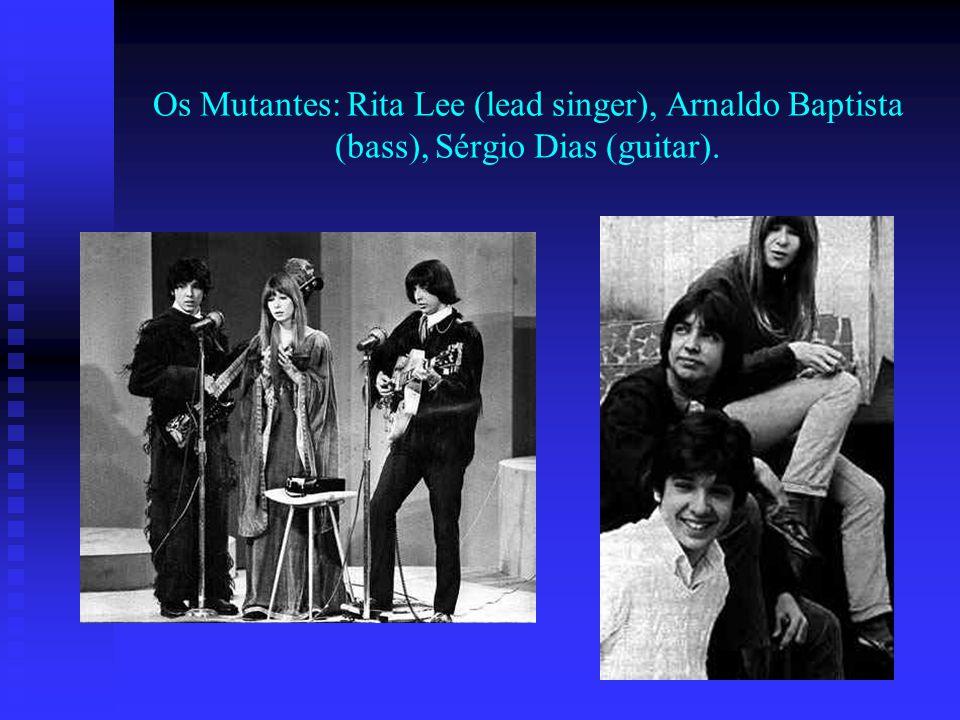 Os Mutantes: Rita Lee (lead singer), Arnaldo Baptista (bass), Sérgio Dias (guitar).