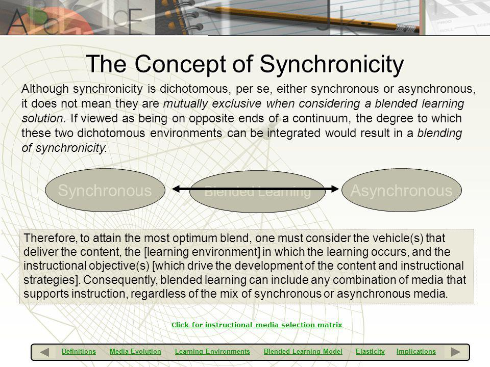 The Concept of Synchronicity Although synchronicity is dichotomous, per se, either synchronous or asynchronous, it does not mean they are mutually exc