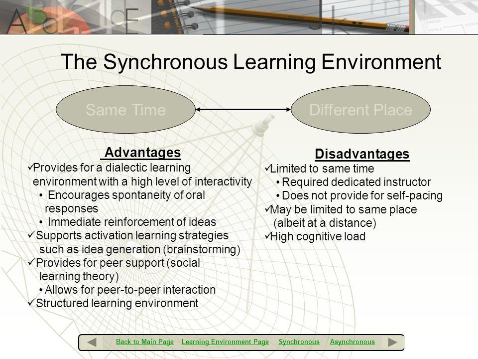 The Synchronous Learning Environment Same TimeDifferent Place Advantages Provides for a dialectic learning environment with a high level of interactiv