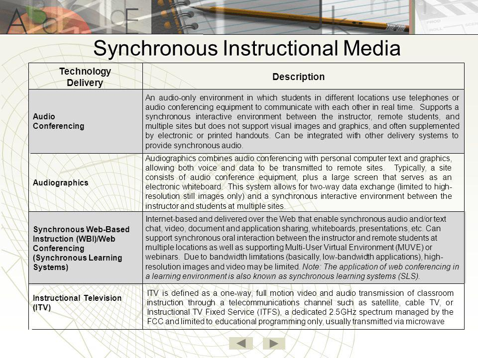 Synchronous Instructional Media Internet-based and delivered over the Web that enable synchronous audio and/or text chat, video, document and applicat
