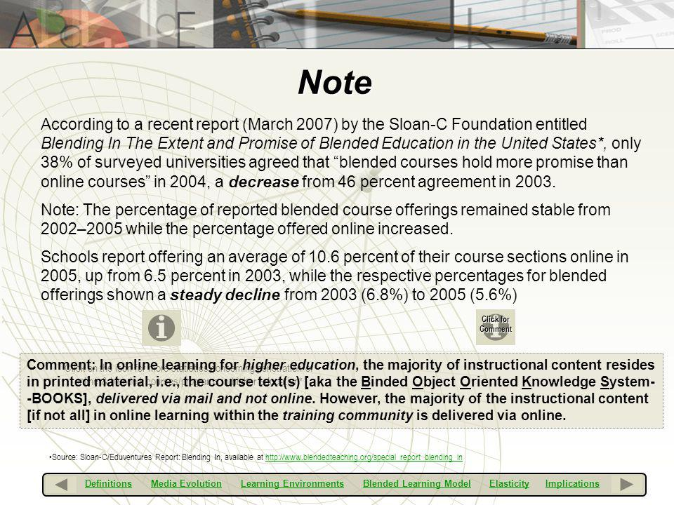 Note According to a recent report (March 2007) by the Sloan-C Foundation entitled Blending In The Extent and Promise of Blended Education in the Unite