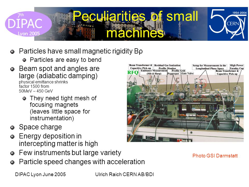 Lyon 2005 DIPAC Lyon 2005 7 th DIPAC Lyon June 2005Ulrich Raich CERN AB/BDI Peculiarities of small machines Particles have small magnetic rigidity Bρ Particles are easy to bend Beam spot and angles are large (adiabatic damping) physical emittance shrinks factor 1500 from 50MeV – 450 GeV They need tight mesh of focusing magnets (leaves little space for instrumentation) Space charge Energy deposition in intercepting matter is high Few instruments but large variety Particle speed changes with acceleration Photo GSI Darmstatt