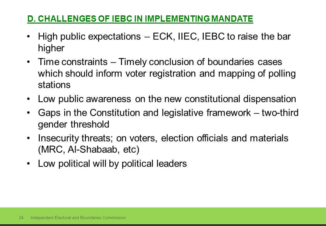 Independent Electoral and Boundaries Commission 24 D.