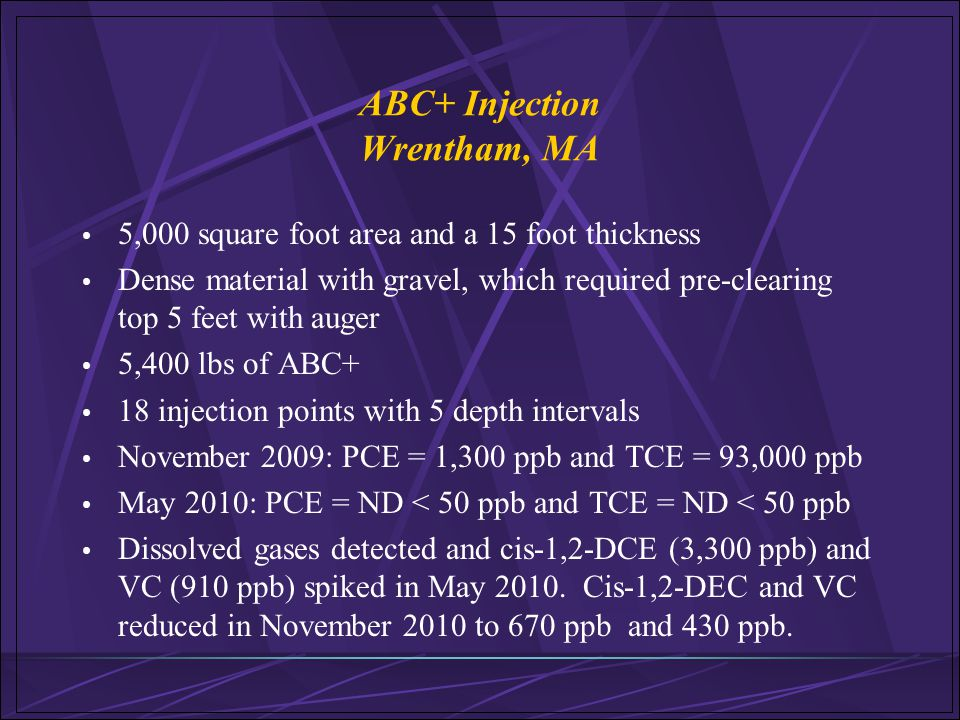 ABC+ Injection Wrentham, MA 5,000 square foot area and a 15 foot thickness Dense material with gravel, which required pre-clearing top 5 feet with aug