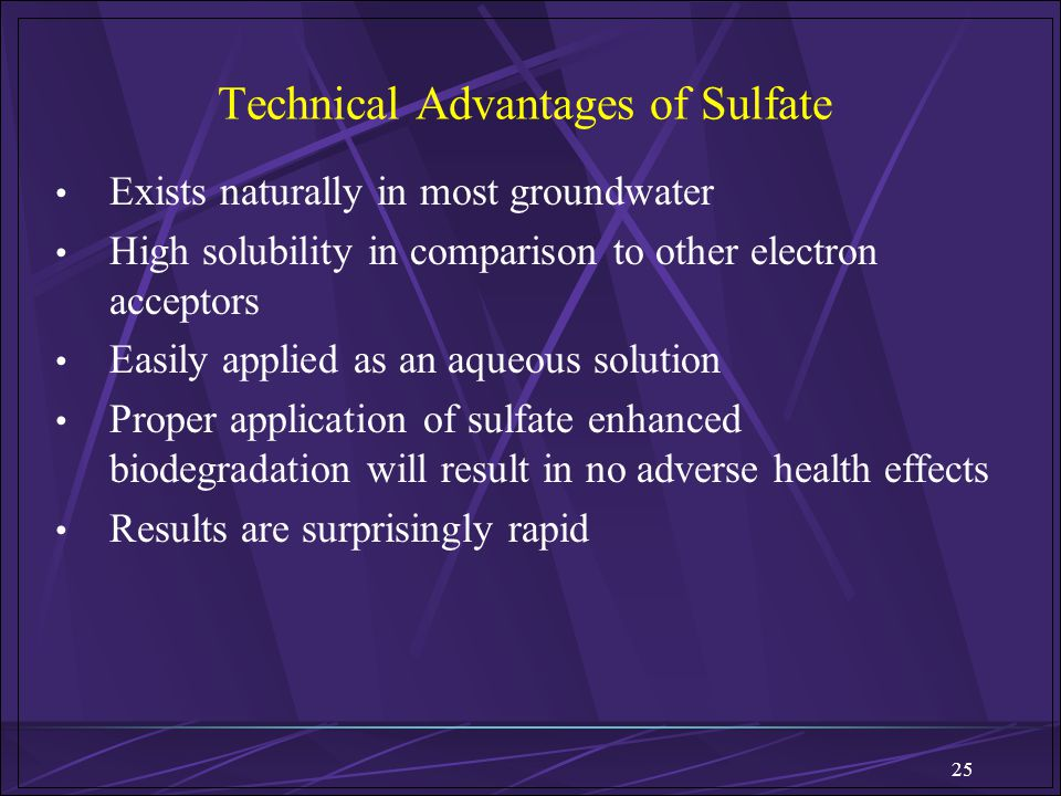 25 Technical Advantages of Sulfate Exists naturally in most groundwater High solubility in comparison to other electron acceptors Easily applied as an