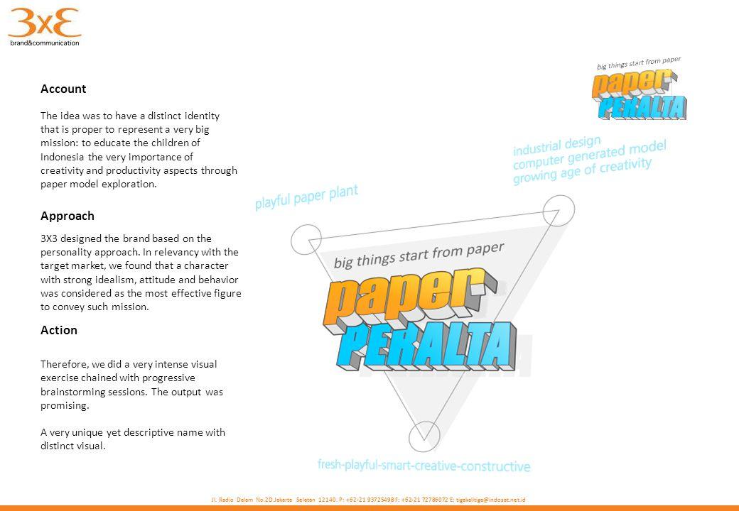 Jl. Radio Dalam No.2D.Jakarta Selatan 12140. P: +62-21 93725498 F: +62-21 72786072 E: tigakalitiga@indosat.net.id Account Approach Action 3X3 designed