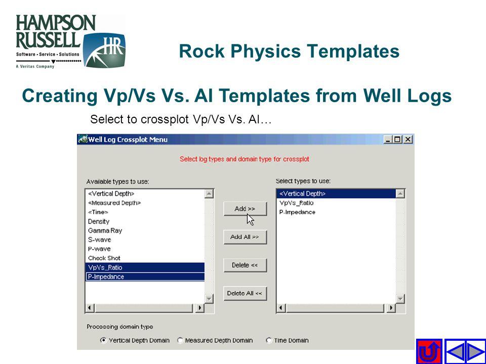 Creating Vp/Vs Vs. AI Templates from Well Logs Select to crossplot Vp/Vs Vs. AI… Rock Physics Templates