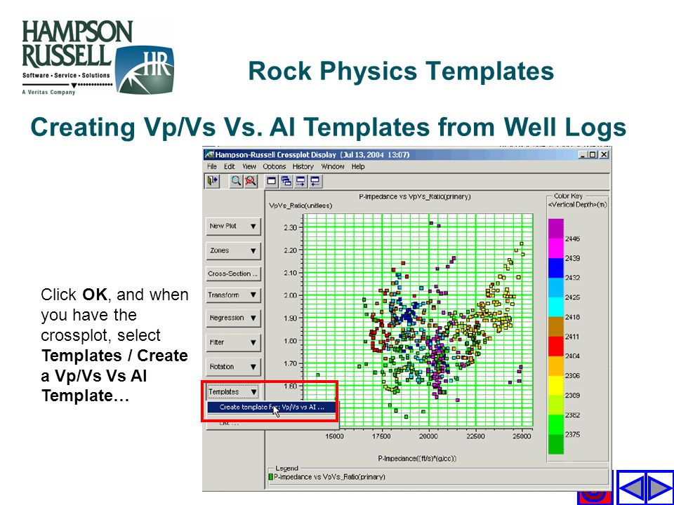 Creating Vp/Vs Vs. AI Templates from Well Logs Click OK, and when you have the crossplot, select Templates / Create a Vp/Vs Vs AI Template… Rock Physi
