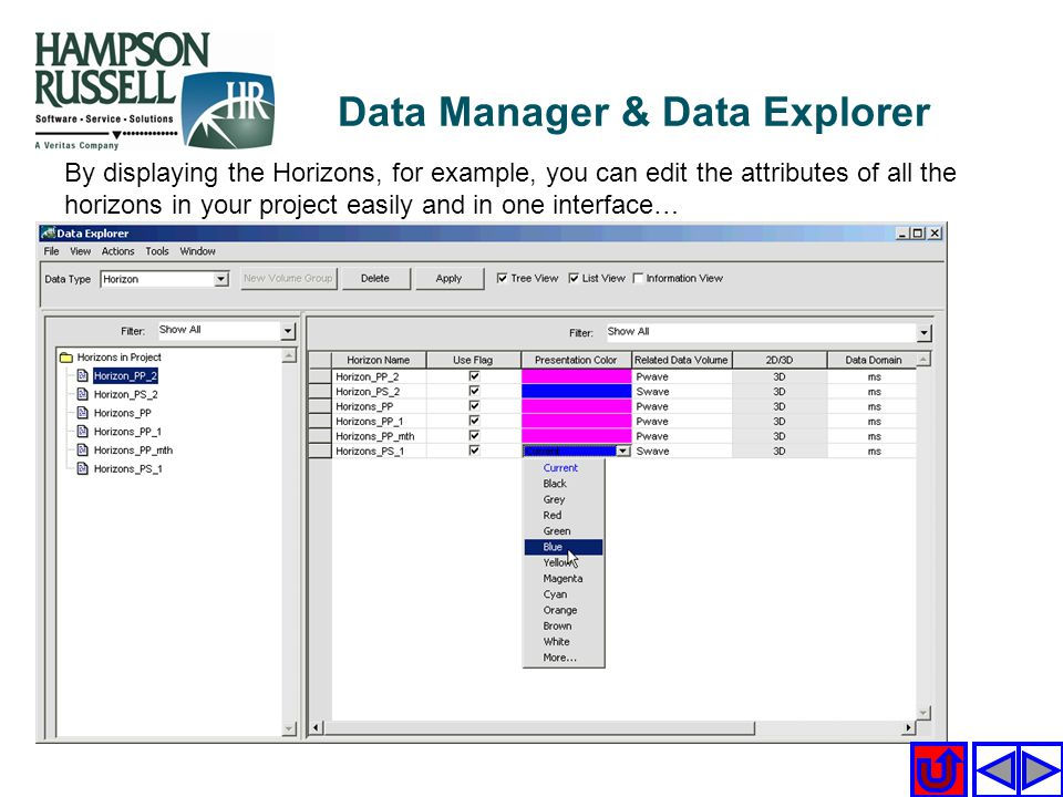 By displaying the Horizons, for example, you can edit the attributes of all the horizons in your project easily and in one interface… Data Manager & D