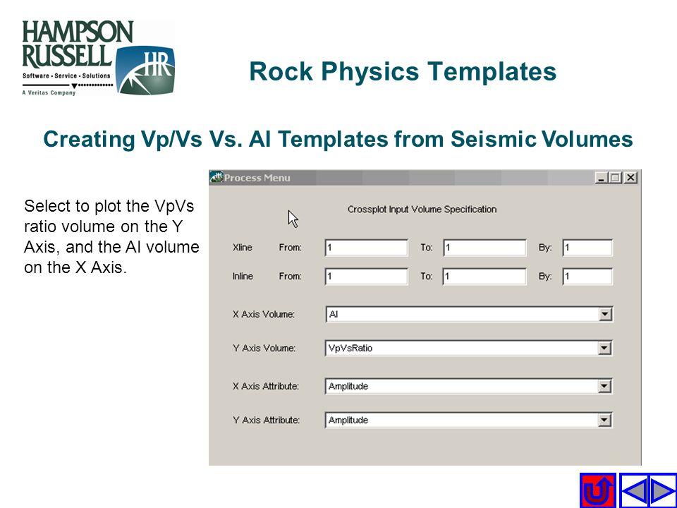 Creating Vp/Vs Vs. AI Templates from Seismic Volumes Select to plot the VpVs ratio volume on the Y Axis, and the AI volume on the X Axis. Rock Physics