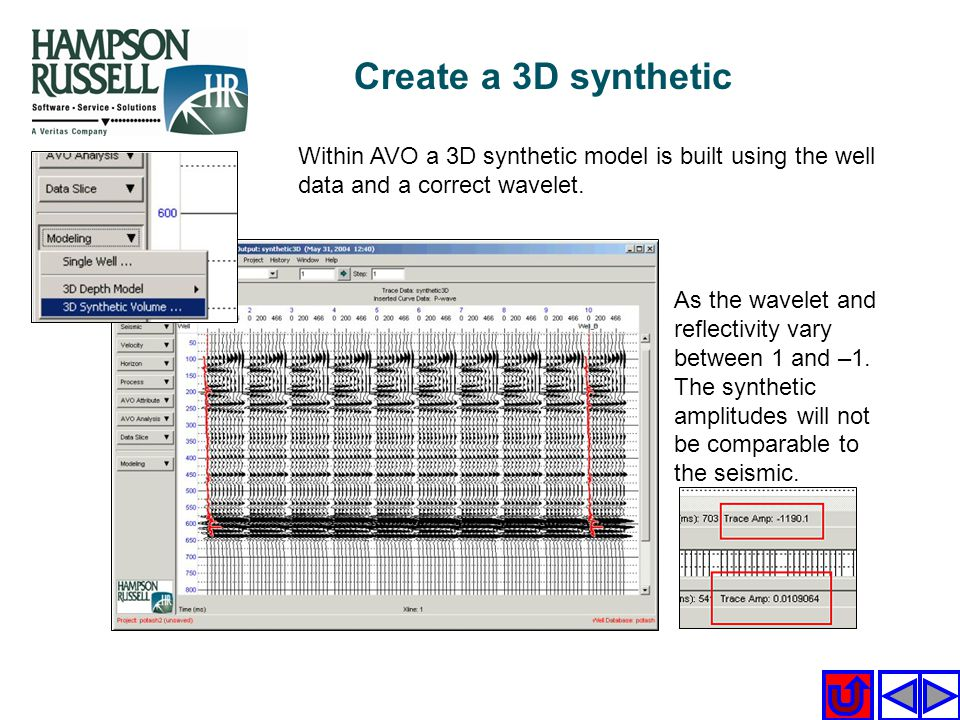 Within AVO a 3D synthetic model is built using the well data and a correct wavelet. As the wavelet and reflectivity vary between 1 and –1. The synthet