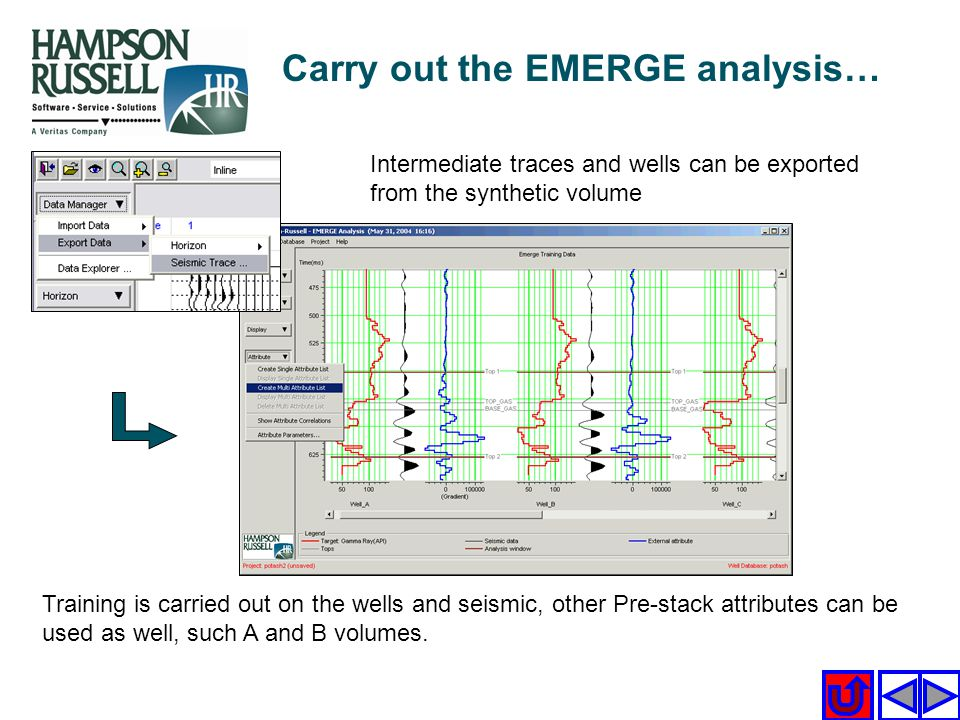 Intermediate traces and wells can be exported from the synthetic volume Training is carried out on the wells and seismic, other Pre-stack attributes c