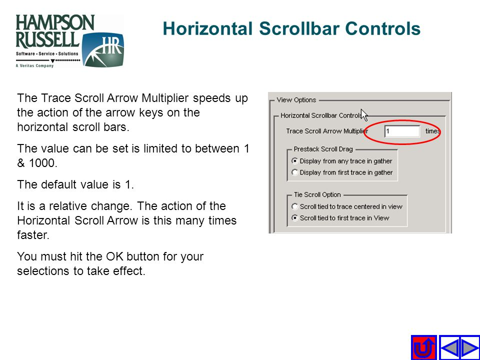 Horizontal Scrollbar Controls The Trace Scroll Arrow Multiplier speeds up the action of the arrow keys on the horizontal scroll bars. The value can be