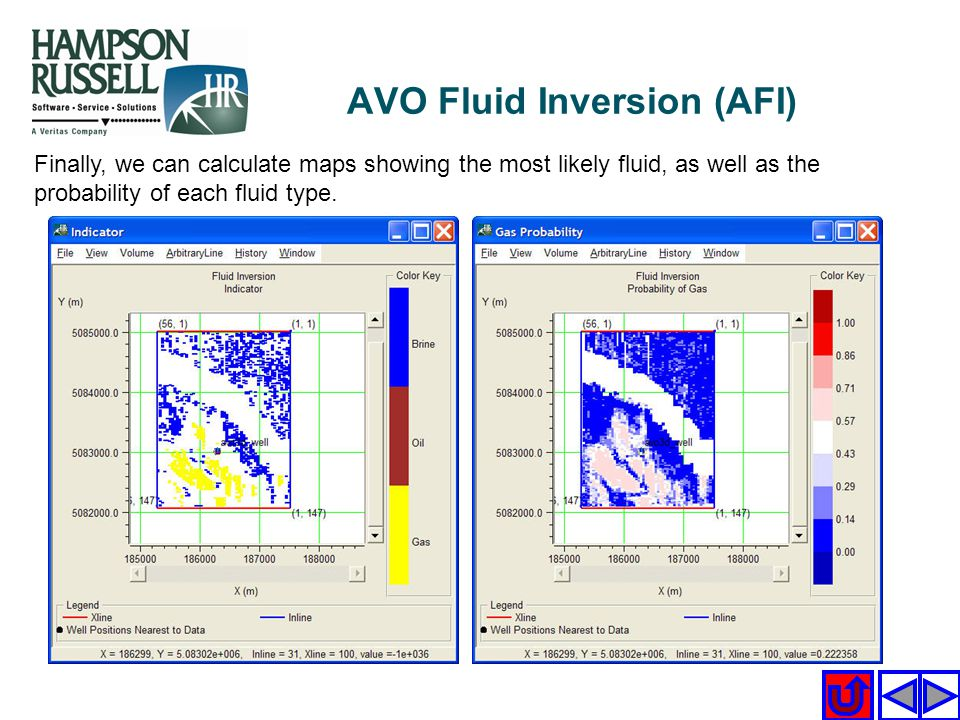 Finally, we can calculate maps showing the most likely fluid, as well as the probability of each fluid type. AVO Fluid Inversion (AFI)