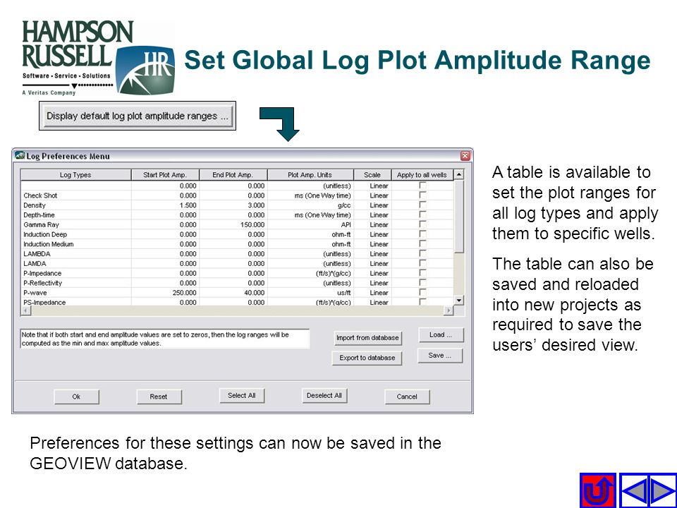 A table is available to set the plot ranges for all log types and apply them to specific wells. The table can also be saved and reloaded into new proj