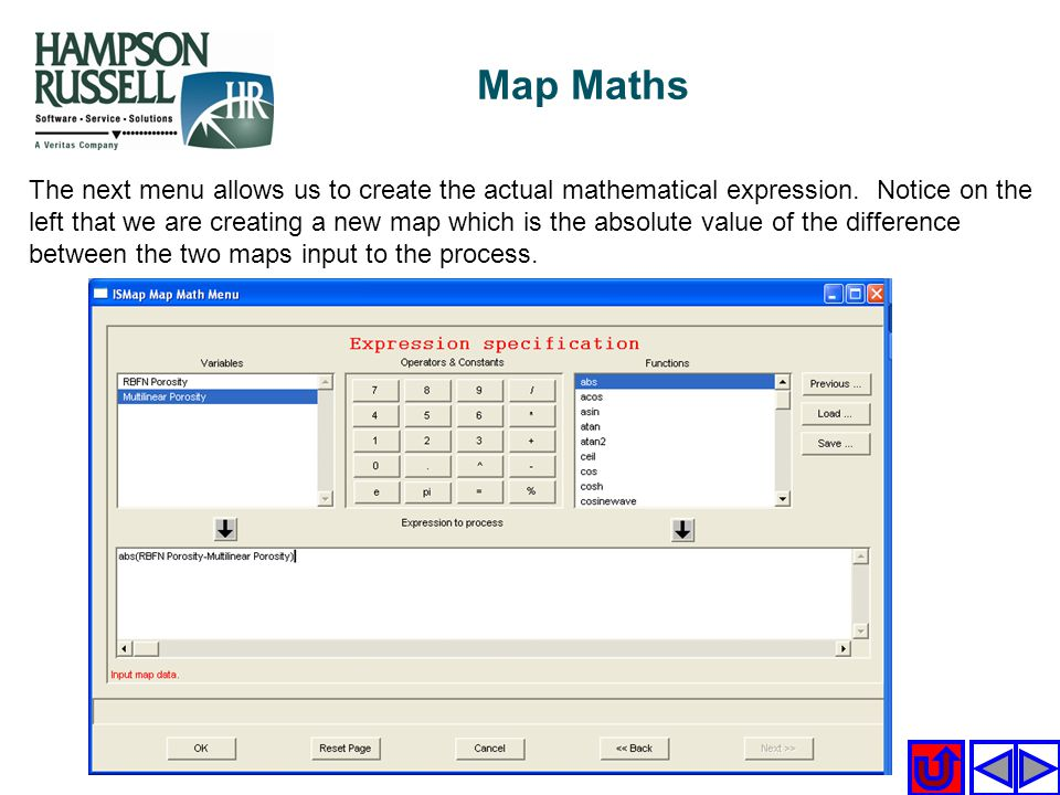 The next menu allows us to create the actual mathematical expression. Notice on the left that we are creating a new map which is the absolute value of
