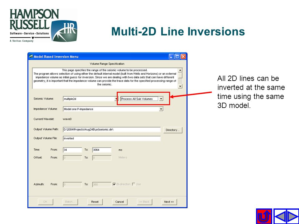 All 2D lines can be inverted at the same time using the same 3D model. Multi-2D Line Inversions