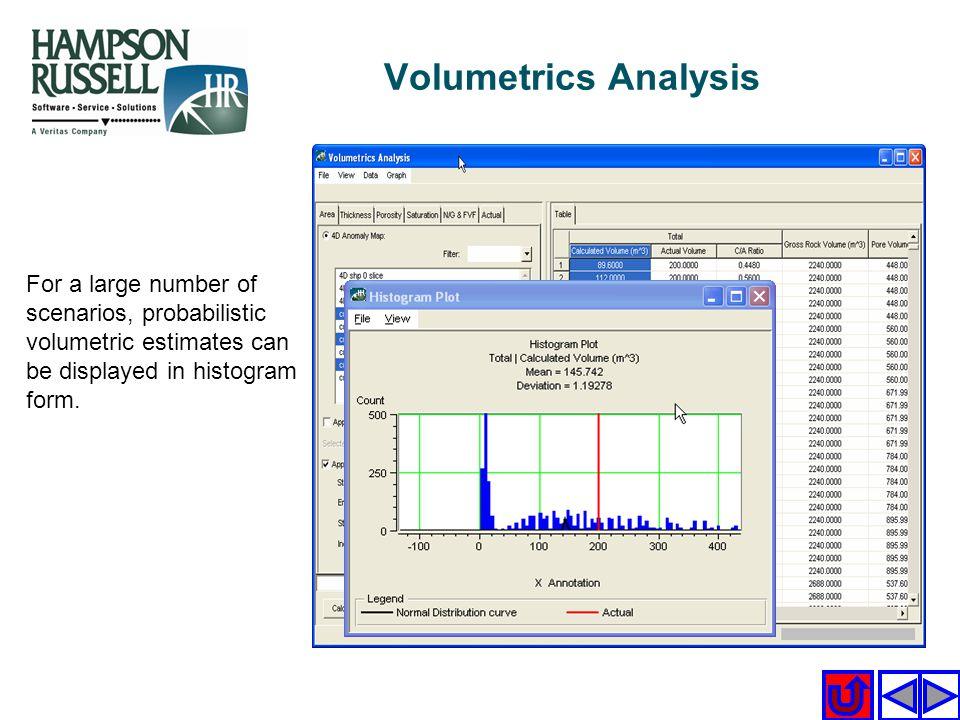 For a large number of scenarios, probabilistic volumetric estimates can be displayed in histogram form. Volumetrics Analysis
