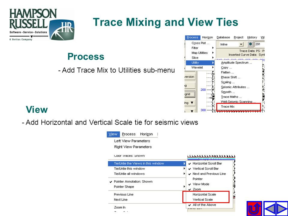 - Add Trace Mix to Utilities sub-menu Process View - Add Horizontal and Vertical Scale tie for seismic views Trace Mixing and View Ties