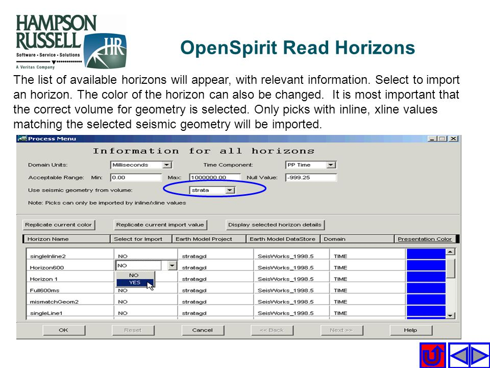 The list of available horizons will appear, with relevant information. Select to import an horizon. The color of the horizon can also be changed. It i