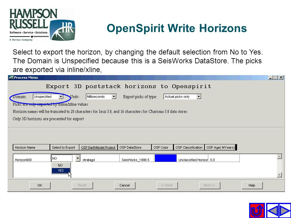 Select to export the horizon, by changing the default selection from No to Yes. The Domain is Unspecified because this is a SeisWorks DataStore. The p