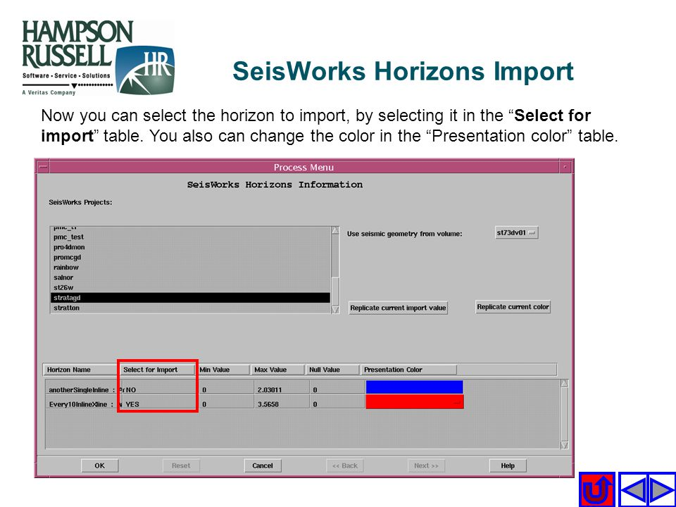 Now you can select the horizon to import, by selecting it in the Select for import table. You also can change the color in the Presentation color tabl