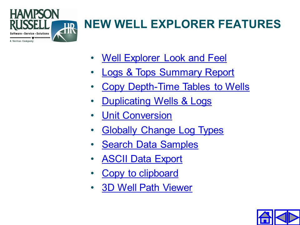 Well Explorer Look and Feel Logs & Tops Summary Report Copy Depth-Time Tables to Wells Duplicating Wells & Logs Unit Conversion Globally Change Log Ty