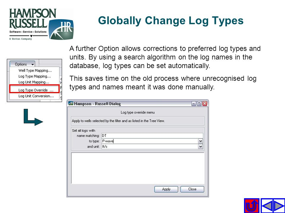 A further Option allows corrections to preferred log types and units. By using a search algorithm on the log names in the database, log types can be s