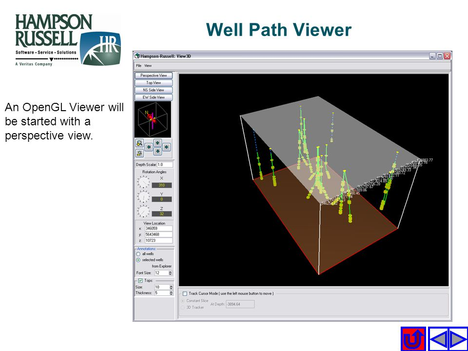 An OpenGL Viewer will be started with a perspective view. Well Path Viewer