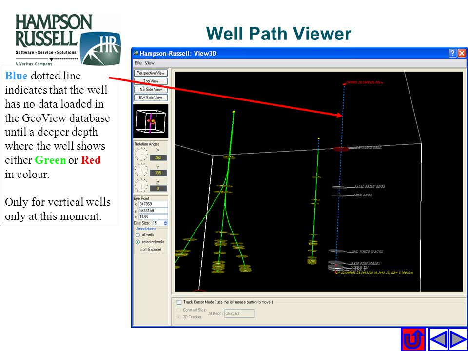 Blue dotted line indicates that the well has no data loaded in the GeoView database until a deeper depth where the well shows either Green or Red in c