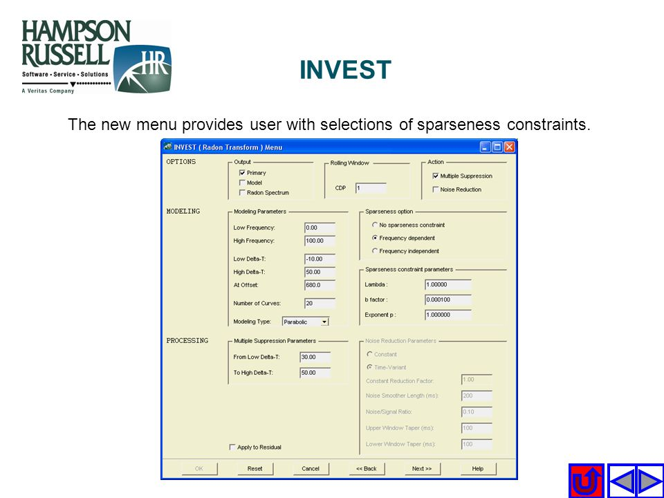 INVEST The new menu provides user with selections of sparseness constraints.