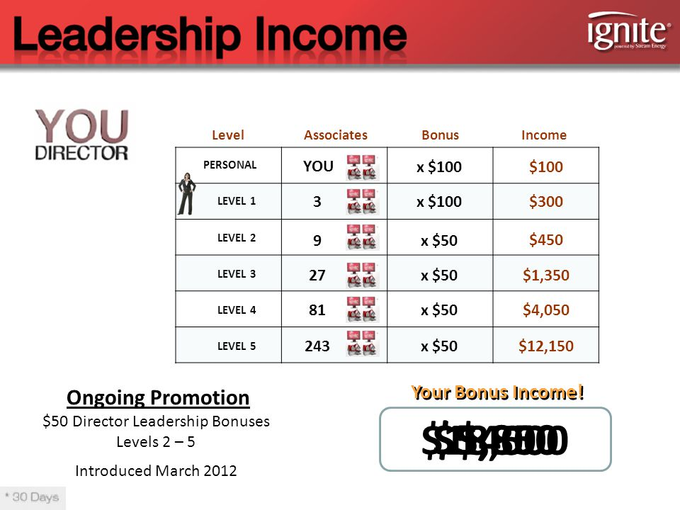 PERSONAL LEVEL 1 LEVEL 2 LEVEL 3 LEVEL 4 LEVEL 5 AssociatesIncome YOU $300 $450 $1,350 $4,050 $12,150 Your Bonus Income.