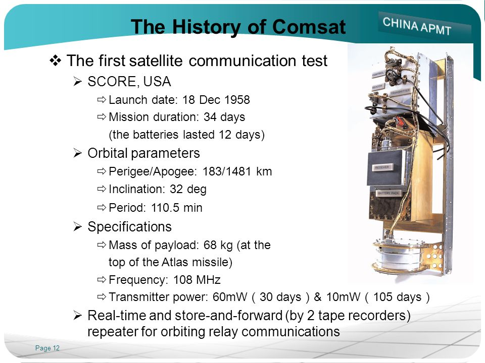 Page 12 The History of Comsat The first satellite communication test SCORE, USA Launch date: 18 Dec 1958 Mission duration: 34 days (the batteries lasted 12 days) Orbital parameters Perigee/Apogee: 183/1481 km Inclination: 32 deg Period: 110.5 min Specifications Mass of payload: 68 kg (at the top of the Atlas missile) Frequency: 108 MHz Transmitter power: 60mW 30 days & 10mW 105 days Real-time and store-and-forward (by 2 tape recorders) repeater for orbiting relay communications