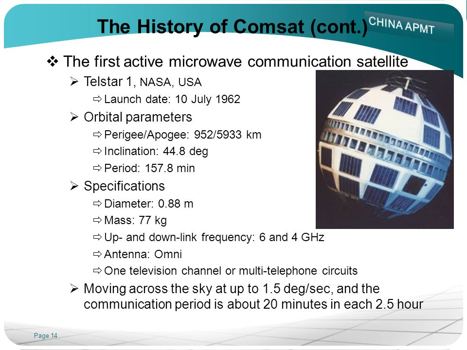 Page 14 The History of Comsat (cont.) The first active microwave communication satellite Telstar 1, NASA, USA Launch date: 10 July 1962 Orbital parameters Perigee/Apogee: 952/5933 km Inclination: 44.8 deg Period: 157.8 min Specifications Diameter: 0.88 m Mass: 77 kg Up- and down-link frequency: 6 and 4 GHz Antenna: Omni One television channel or multi-telephone circuits Moving across the sky at up to 1.5 deg/sec, and the communication period is about 20 minutes in each 2.5 hour