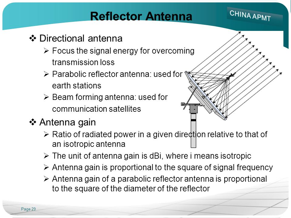 Page 29 Reflector Antenna Directional antenna Focus the signal energy for overcoming transmission loss Parabolic reflector antenna: used for earth stations Beam forming antenna: used for communication satellites Antenna gain Ratio of radiated power in a given direction relative to that of an isotropic antenna The unit of antenna gain is dBi, where i means isotropic Antenna gain is proportional to the square of signal frequency Antenna gain of a parabolic reflector antenna is proportional to the square of the diameter of the reflector